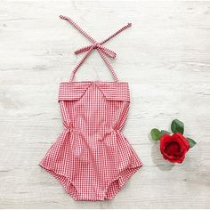 baby girl names Stunning handmade red/white gingham romper, a one of a kind piece. The romper has elastic for a comfortable fit, snap buttons for easy access. Perfect for a party, photo Baby Girl Fashion, Toddler Fashion, Kids Fashion, Babies Fashion, Fashion Clothes, Fashion Fashion, Fashion Outfits, Baby Outfits, Kids Outfits