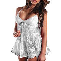 OYMMENEY Sexy Dessous set Lingerie Damen Nachtwäsche Negligee Babydoll Set Unterwäsche Kostüme Erotische Cosplay Reizwäsche kleider mit G-String Weiß