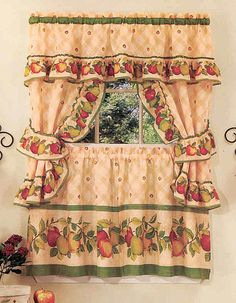 Achim Home Furnishings Apple Orchard Cottage Set, Antique: Cottage sets are the perfect finishing décor for you kitchen window. Each set comes with a pair of Tailored Valances, 1 Ruffel Topper with attached valance and 1 pair of Tiebacks. Apple Kitchen Decor, Kitchen Decor Sets, Kitchen Curtain Sets, Kitchen Curtains, Kitchen Windows, Room Kitchen, Kitchen Ideas, Cottage Curtains, Cottage Windows