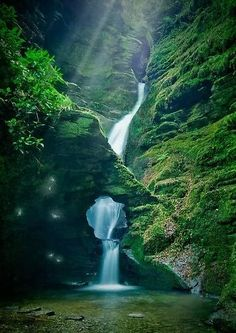 Over summer I would like travel to Cornwall,maybe start with the North. Enchanting waterfall at St Nectan's Kieve near Tintagel, North Cornwall, England Beautiful Waterfalls, Beautiful Landscapes, Places To Travel, Places To See, Travel Destinations, Vacation Places, Places Around The World, Around The Worlds, Cornwall England