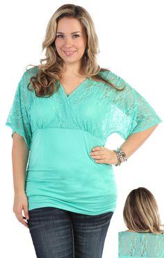 Mint lace shirt
