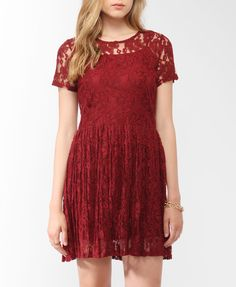 Pleated Lace Dress w/ Belt | FOREVER21 - 2000048939