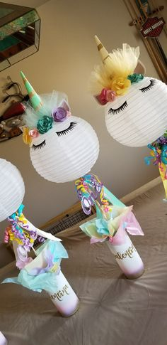 centerpieces on FB or on IG Kids Centerpieces, Birthday Party Centerpieces, Luau Birthday, Unicorn Birthday Parties, Unicorn Centerpiece, Baby Gift Hampers, Unicorn Baby Shower, Bday Girl, Decoration Table