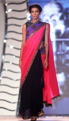 Pink and black sari. Manish Malhotra Fashion Show for 'Save & Empower Girl Child'
