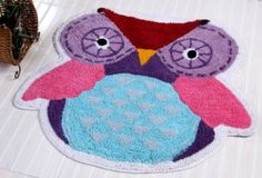 Such a cute rug :) 100% Cotton Washable Tufted Owl Rug (size - 80 x 70 cm) by Homescapes. A very colourful and cheerful hand tufted rug.  Can be conveniently washed at home. Would look great in a Kid's room but can also be used in other rooms including bathroom. An ideal gift for any nature lover :) It's certainly a treat for your home!
