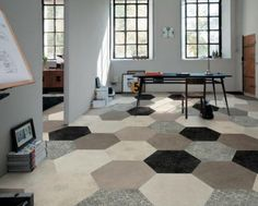 """hexagon carpet squares for the office or certain areas of the office! love this for individual offices (say for wil, crystal, aaron so they have a dedicated space for meetings) or in communal areas like the main entry or group meeting areas. These ones are 18"""" hexagon carpet tiles from Mirage."""
