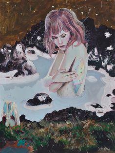 "Artist: Alexandra Levasseur ""L'origine"" Mixed Media / Paper Mounted on Wood 18"" x 24"""