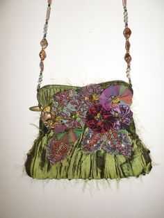 Mary Frances Evening Bag Beaded Fringe Colorful Stones Green olive Nice #MaryFrances #EveningBag