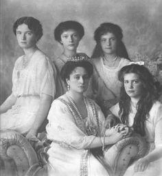 Empress Alexandra with her four daughters - Olga, Tatiana, Anastasia and Marie…