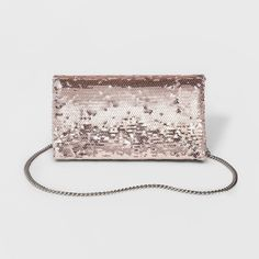 Foldover Clutch with Removable Crossbody Chain - Mossimo Supply Co. Rose Gold Sequin