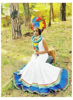 Sotho Traditional Dresses, Pedi Traditional Attire, Zulu Traditional Wedding, South African Traditional Dresses, Traditional Outfits, African Wedding Attire, African Attire, African Wear, African Print Dresses