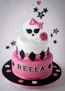 Currently popular with you girls, this birthday cake is designed around the Monster High theme and includes the school logo.