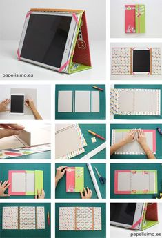 How-Do-caso-di-tablet-cover-fai da te IPad or tablet case stand or holder from ring binder folderShared by Susana Rdz. Find images and videos about diy, ideas and free crafts on We Heart It - the app to get lost in what you love.Adjust with zip cover Sewing Crafts, Sewing Projects, Craft Projects, Capas Kindle, Tablet Cover, Tablet Stand, Diy Couture, Creation Couture, Diy Phone Case