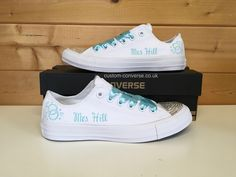 Personalised linked rings Wedding Converse with ribbon laces in Tiffany blue #weddingconverse