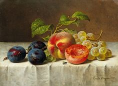 Emilie Preyer, STILL LIFE WITH PEACHES, GRAPES, PRUNES AND GRAPES, Auction 969 Old Masters, Lot 1280