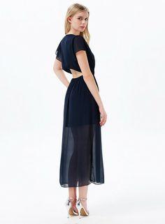 Blue V Neck Short Sleeve Split Chiffon Dress