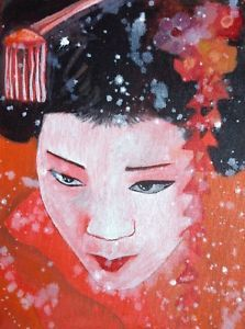 Japanese Girl Oil On Canvas By Fickle Eldritch | eBay