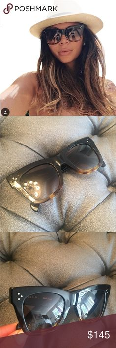 Celine Catherine sunglasses Very in and very stylish  Celine CL 41098/F/S  50 Catherine Sunglasses. Glasses and case and cloth included  Oversized cat eye frame in black/havana ombre. Scratches on lens and frame Bloggers favorite. Measures 50-23-145. 100% authentic.retails for 475 Celine Accessories Sunglasses