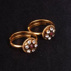 Toe Ring with white AD and maroon stones - WJ0057 Bridal Jewellery  Toe Ring
