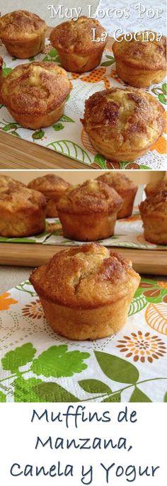 Muffins de Manzana, Canela y Yogur: Simplemente deliciosos. Puedes encontrarlos en www.muylocosporlacocina.com.