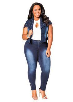 Grommet Ankle Stretch Denim Skinny Jean