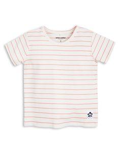Camiseta de rayas, de manga corta, de Mini Rodini. Material: 95% Algodón orgánico 5% elastano.