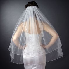 Double Layer Fingertip Length Corded Hemmed Edge with Pearls Veil (82)