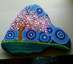 Painted Beach Stone ~ Cherry Blossom Tree ~ by Miranda Pitrone dot art/rocks/gift idea/pointillism/faery garden