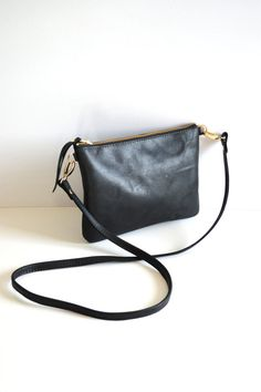 f8f4b5468dd4 Small Leather Crossbody Bag. Minimalist Leather Purse Converts to Wristlet  Clutch Bag. Choose Your Colour - Black