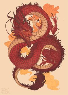 [C] Chinese dragon by norapotworaYou can find Chinese culture and more on our website.[C] Chinese dragon by norapotwora Japanese Culture, Japanese Art, Chinese Culture, Japon Illustration, Art Chinois, Dragon Artwork, Dragon Drawings, Dragon Tattoo Drawing, Japanese Dragon Tattoos