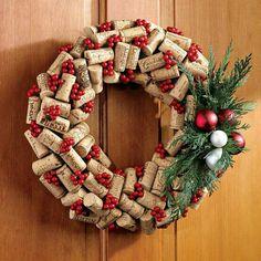 Christmas wine cork wreath