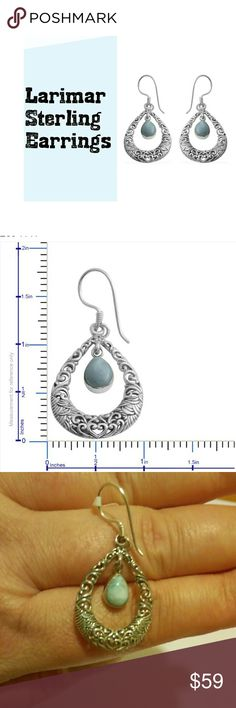 Sterling Larimar Earrings This is for a pair of Larimar earrings.  The settings are solid .925 Sterling silver. 2.77 total carat weight Jewelry Earrings