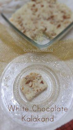 Instant White Chocolate Kalakand Recipe/ Indian Sweet Fudge Holi Recipes, Sweets Recipes, Easy Desserts, Indian Dessert Recipes, Indian Sweets, Indian Recipes, Kalakand Recipe, White Chocolate Fudge, Eat Happy