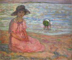 Henri Lebasque Jeune fille assise au bord de la mer (c. Mother and child at the beach Art Plage, Modern Art, Contemporary Art, Art Et Illustration, Impressionism Art, Am Meer, Henri Matisse, French Artists, Traditional Art