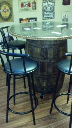Whiskey Barrel Table- cute idea for back patio!