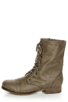Madden Girl Gamer Stone Pari Taupe Lace-Up Combat Boots