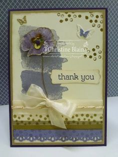 Stamps: Happy Watercolor Card: Elegant Eggplant, Brushed Gold, Very Vanilla, Wisteria Wonder Ink: Versamark inkpad, Elegant Eggplant, Wisteria Wonder and Crumb Cake stampin' pads Other: Gold stampin' emboss powder, Blender pen, Watercolor Wonder washi tape, Gold Sequin trim, Gold baker's twine, Regals candy dot, Beautiful Wings embosslits, Very Vanilla seam binding, Finishing Touches edgelits, Modern Label punch, Basic Pearls, glue dots, sponge dauber, stampin' dimensionals