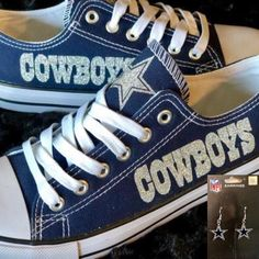 Cowboys Womans Custom Shoes w o Bling w Free Pair of Dallas Cowboys earrings e18614e34