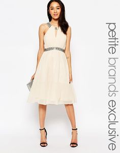 Image 1 of Little Mistress Petite Embellished Halter Skater Dress