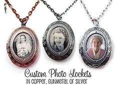 1 Custom Photo Small Oval Locket Pendant in Antique Copper, Silver or Gunmetal Finish - Personalized Picture Necklace Charm - Wedding nacklaces (*Amazon Partner-Link)