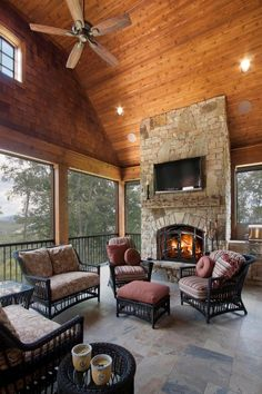 SkyTop Estate // Luxury Home built by Buchanan Construction Custom Home Builders, Custom Homes, Patio Design, House Design, Bungalow Decor, Screened In Patio, Mountain Homes, Great Rooms, Luxury Homes