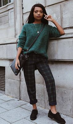 0c43c3ace8 comfy outfit for this winter   green knit sweater + bag + plaid pants +  loafers