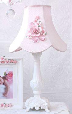Vintage Inspired Fairytale Pink Rose-Bouquet Table Lamp-vintage, victorian, shabby, romance, lighting, chandelier, crystals, glass beads, crystal chains, sparkling, glamour, romantic home,
