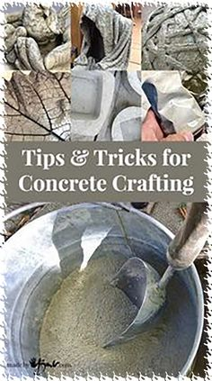 Tips and Tricks for Concrete Crafting. Tips and instructions to make concrete crafting easy. With several links to concrete projects.After reading this I think my next sculpture idea will be done with concrete! Tips and Tricks for Concrete Crafting - Cement Art, Concrete Crafts, Diy Concrete Planters, Concrete Jewelry, Wall Planters, Metal Planters, Succulent Planters, Succulents Garden, Cinderblock Planter