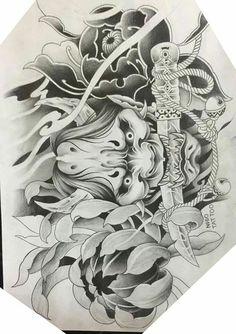Japanese Hand Tattoos, Japanese Mask Tattoo, Traditional Japanese Tattoos, Japanese Tattoo Designs, Asian Tattoos, Black Ink Tattoos, Body Art Tattoos, Skull Butterfly Tattoo, Koi Dragon Tattoo