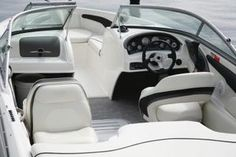 The vinyl interior of a speed boat.