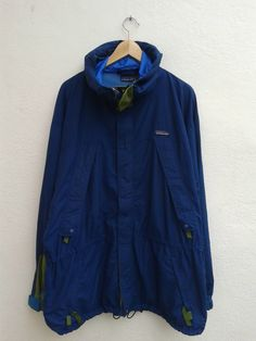 Vintage 90s PATAGONIA Outdoor Gear Hiking and Hunting Blue Long Hoodies Jacket Size L by BubaGumpBudu on Etsy