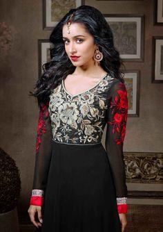 Shraddha Kapoor Black and Red Anarkali Dress Material