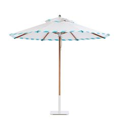Santa Barbara umbrella in teak with Regatta Whitecap canopy, double banding in Aqua Sea Stripe, aluminum hubs in anodized silver, and polished stainless steel finial.