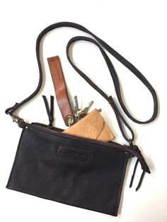 Chocolate Brown Leather Bag Compartment Bag Zippered